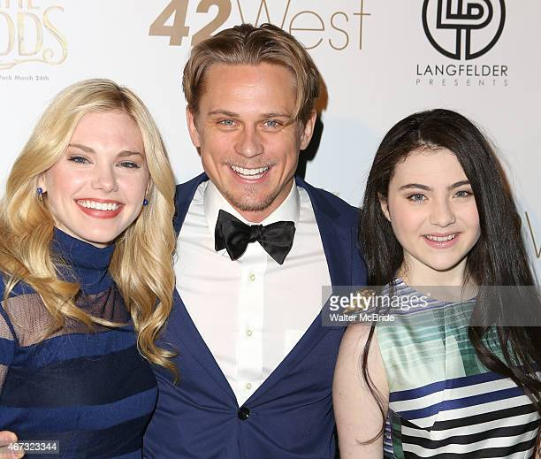 Mackenzie Mauzy Billy Magnussen and Lilla Crawford attend 'A Musical Tribute to Stephen Sondheim' at 42West on March 22 2015 in New York City