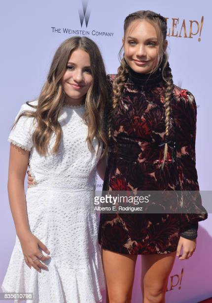 Mackenzie Ziegler and actess Maddie Ziegler attend the premiere of The Weinstein Company's 'Leap' at the Pacific Theatres at The Grove on August 19...