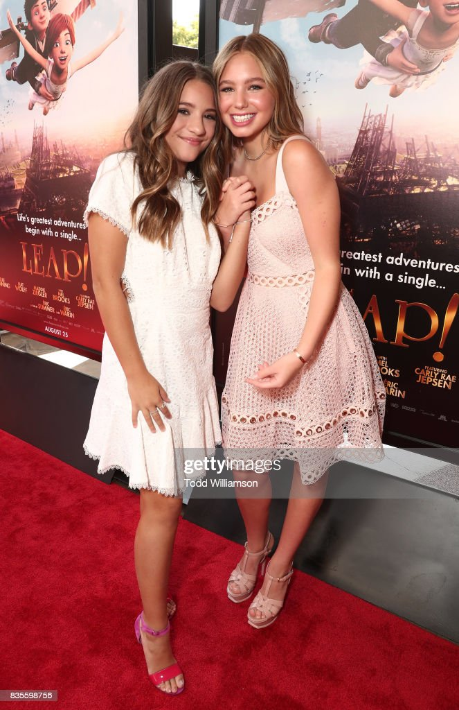 Mackenzie Ziegler and Lilia Buckingham attend the premiere Of The Weinstein Company's 'Leap!' at Pacific Theatres at The Grove on August 19, 2017 in Los Angeles, California.