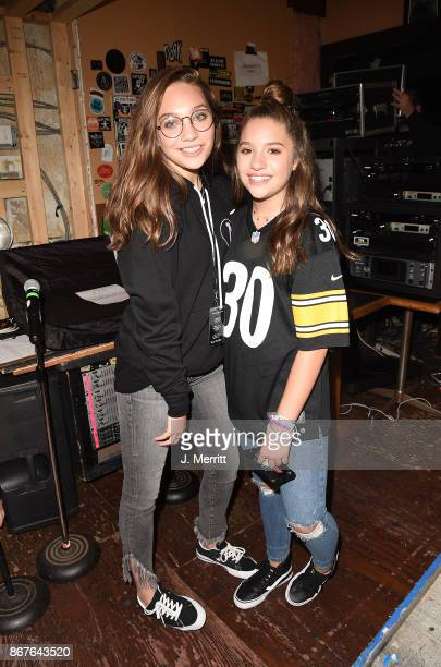Mackenzie Ziegler and Maddie Ziegler pose backstage after the 'Day NIght' tour at Mr Smalls on October 28 2017 in Millvale Pennsylvania