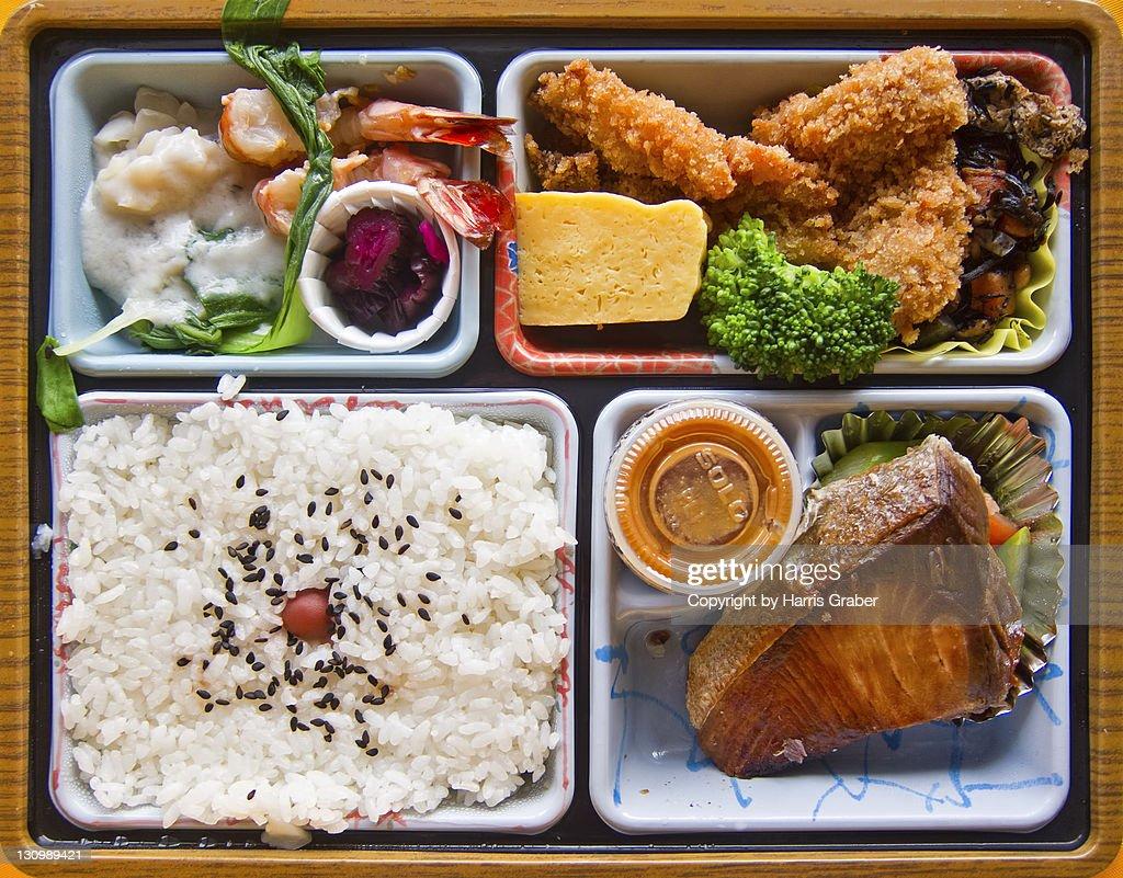 Mackerel and chicken tempura bento