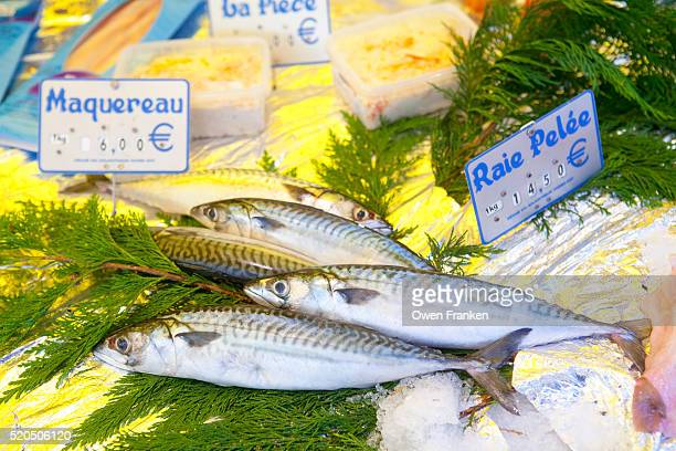 mackerel for sale in a Paris weekly market