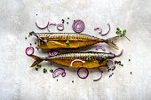 Mackerel, smoked fish with omega 3 fat, bar food on table