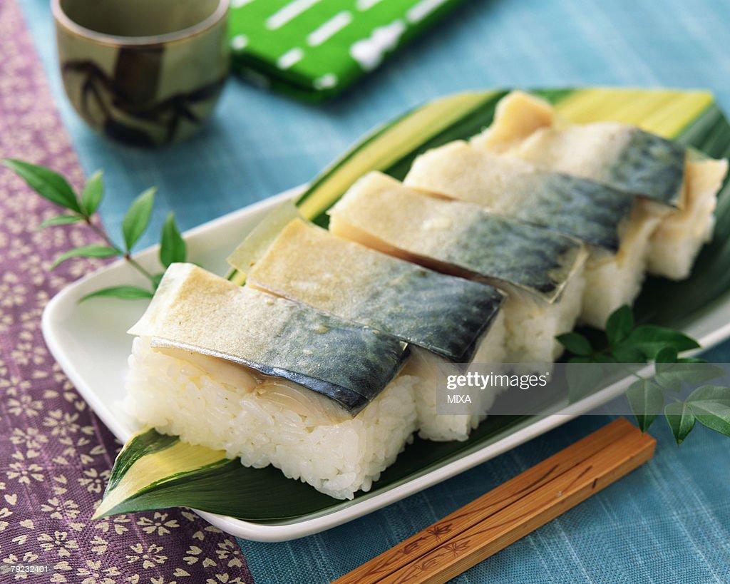 Mackerel sushi : Stock Photo