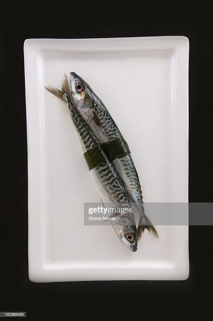 Mackerel Wrapped in Seaweed : Stock Photo