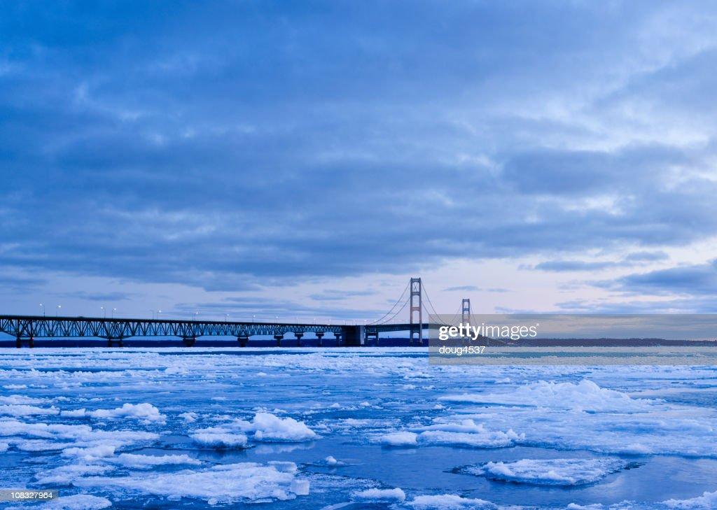 Mackinac Bridge in Winter : Stock Photo