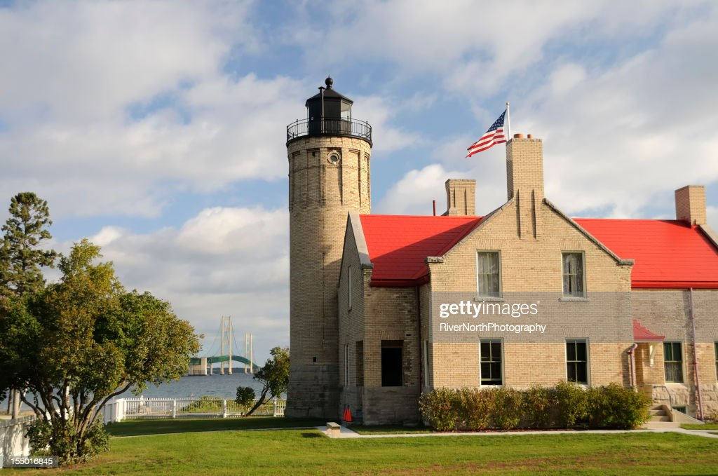 Mackinac Lighthouse and Bridge
