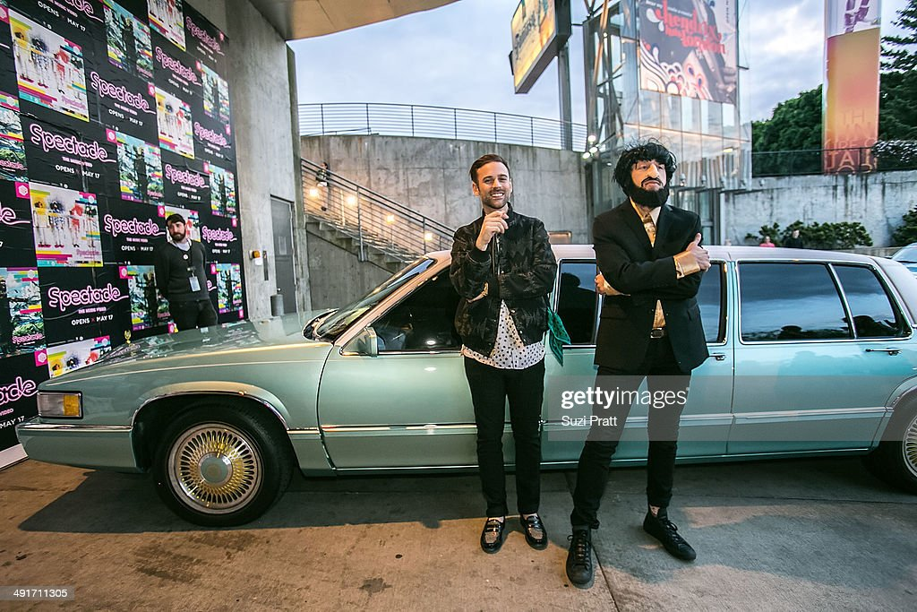 <a gi-track='captionPersonalityLinkClicked' href=/galleries/search?phrase=Macklemore&family=editorial&specificpeople=7639427 ng-click='$event.stopPropagation()'>Macklemore</a> and Ryan Lewis arrive at the opening night of 'Spectacle: The Music Video' exhibition at EMP Museum on May 16, 2014 in Seattle, Washington.