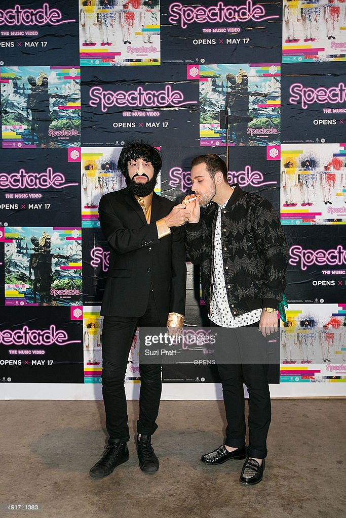 Macklemore and Ryan Lewis arrive at the opening night of 'Spectacle: The Music Video' exhibition at EMP Museum on May 16, 2014 in Seattle, Washington.
