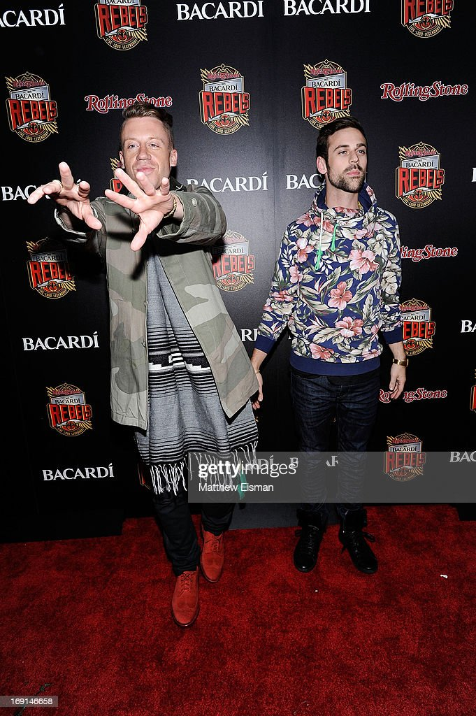<a gi-track='captionPersonalityLinkClicked' href=/galleries/search?phrase=Macklemore&family=editorial&specificpeople=7639427 ng-click='$event.stopPropagation()'>Macklemore</a> (L) and Ryan Lewis attend the 2013 Bacardi Rebels event hosted by Rolling Stone at Roseland Ballroom on May 20, 2013 in New York City.