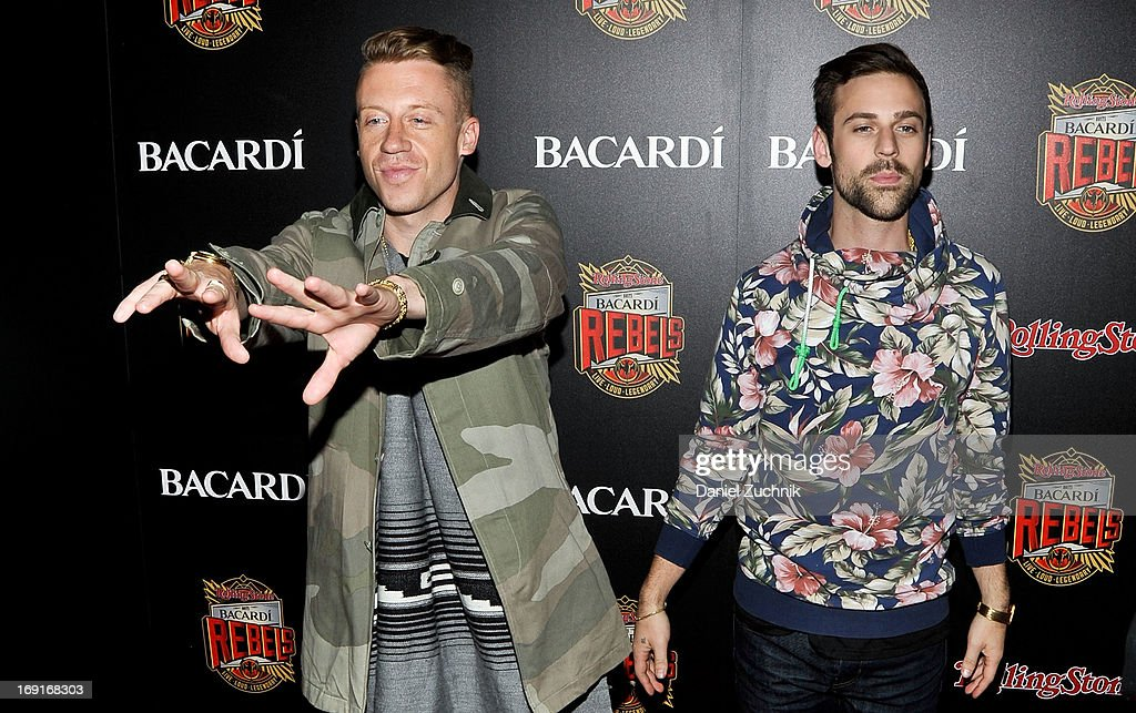 <a gi-track='captionPersonalityLinkClicked' href=/galleries/search?phrase=Macklemore&family=editorial&specificpeople=7639427 ng-click='$event.stopPropagation()'>Macklemore</a> and Ryan Lewis attend the 2013 Bacardi Rebels Event Hosted By Rolling Stone at Roseland Ballroom on May 20, 2013 in New York City.