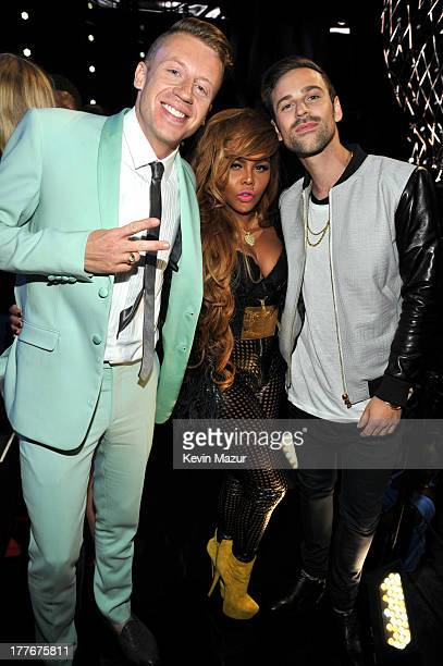 Macklemore Lil Kim and Ryan Lewis attend the 2013 MTV Video Music Awards at the Barclays Center on August 25 2013 in the Brooklyn borough of New York...