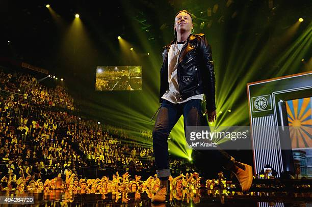 Macklemore performs on the stage during the MTV EMA's 2015 at the Mediolanum Forum on October 25 2015 in Milan Italy