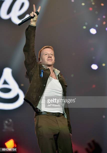 Macklemore performs onstage at WELCOME Fundraising Concert Benefiting The ACLU presented by Zedd at Staples Center on April 3 2017 in Los Angeles...