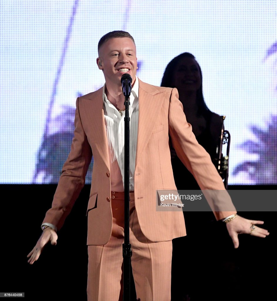Macklemore performs onstage during the 2017 American Music Awards at Microsoft Theater on November 19, 2017 in Los Angeles, California.
