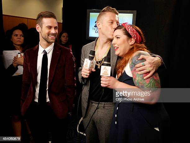 Macklemore Ryan Lewis and Mary Lambert backstage during the THE GRAMMY NOMINATIONS CONCERT LIVE Ñ COUNTDOWN TO MUSIC'S BIGGEST NIGHT¨ broadcast...
