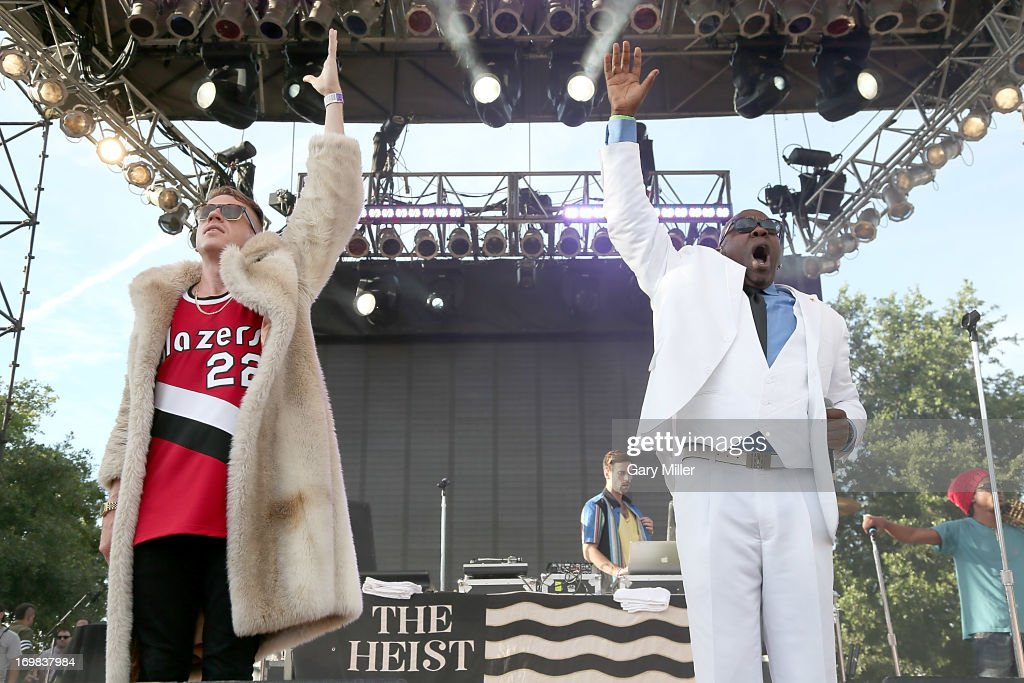 <a gi-track='captionPersonalityLinkClicked' href=/galleries/search?phrase=Macklemore&family=editorial&specificpeople=7639427 ng-click='$event.stopPropagation()'>Macklemore</a>, Ryan Lewis and Wanz perform in concert during the Free Press Summer Festival at Eleanor Tinsley Park on June 2, 2013 in Houston, Texas.