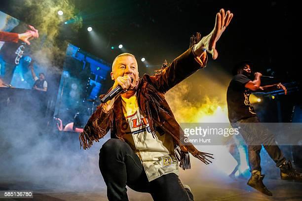 Macklemore Ryan Lewis perform on stage at Brisbane Entertainment Centre on August 2 2016 in Brisbane Australia