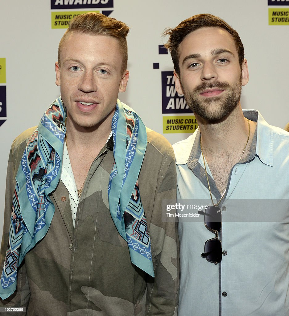 <a gi-track='captionPersonalityLinkClicked' href=/galleries/search?phrase=Macklemore&family=editorial&specificpeople=7639427 ng-click='$event.stopPropagation()'>Macklemore</a> & Ryan Lewis pose at the mtvU Woodie Awards on March 14, 2013 in Austin, Texas.
