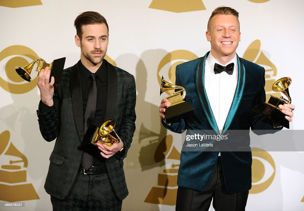 Macklemore & Ryan Lewis pose in the press room at the 56th GRAMMY Awards at Staples Center on January 26, 2014 in Los Angeles, California.