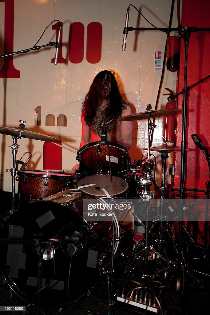 Macks Faulkron of MT supporting Palma Violets performs on stage at The 100 Club on March 4, 2013 in London, England.