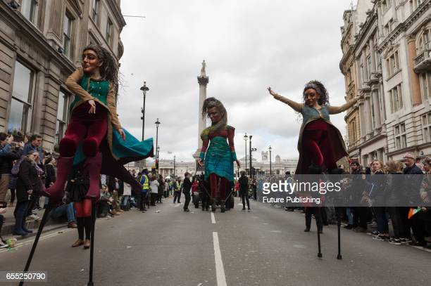 Macnas Street Theatre company from Galway takes part in the annual St Patricks Day parade on March 19 2017 in London England Many London Irish...