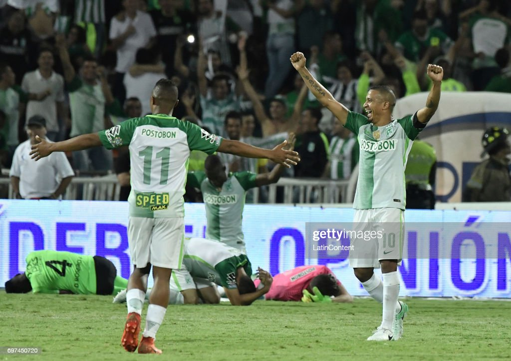 Macnelly Torres and Andres Felipe Ibarguen of Atletico Nacional celebrate as champions of the Liga Aguila I 2017 after winning the Final second leg match between Atletico Nacional and Deportivo Cali as part of Liga Aguila I 2017 at Atanasio Girardot Stadium on June 18, 2017 in Medellin, Colombia.