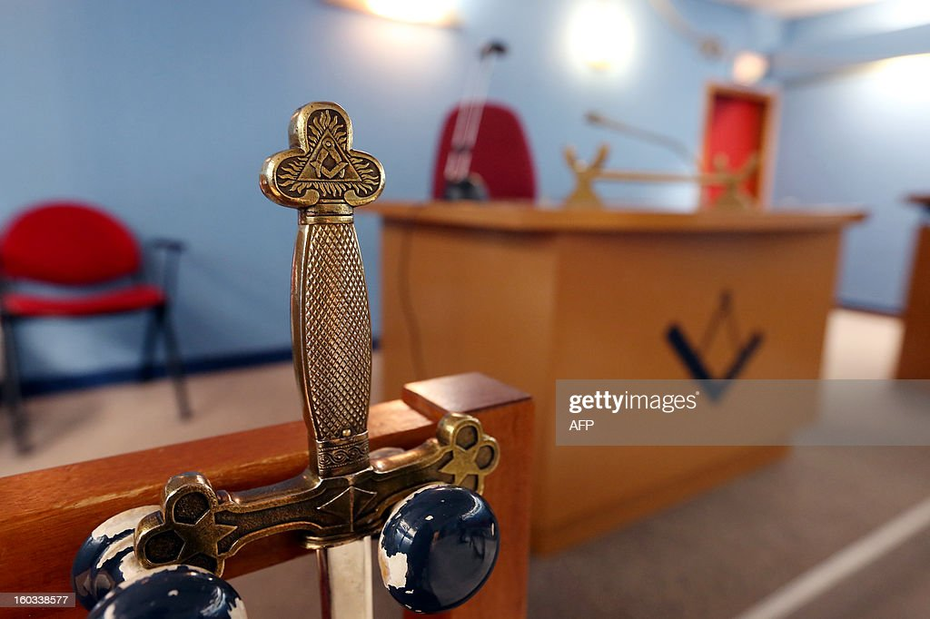 A Maconic sword is pictured on January 29, 2013 at the temple of French International Order of Co-Freemasonry 'LE DROIT HUMAIN' in Paris. AFP PHOTO / THOMAS SAMSON