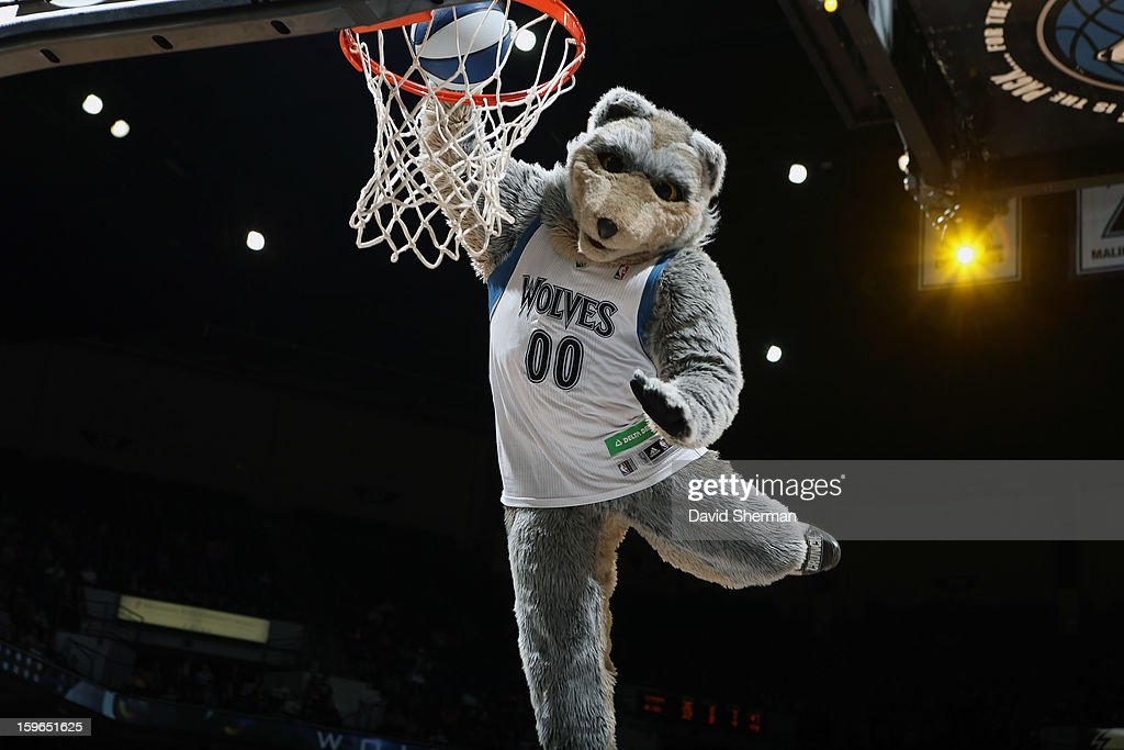 Macot Crunch of the Minnesota Timberwolves slamdunks the ball during a timeout against the Los Angeles Clippers during the game on January 17, 2013 at Target Center in Minneapolis, Minnesota.