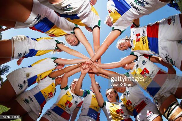 Macquarie Universty form a huddle during the Women's University Sevens match between Macquarie Universty and Adelaide Universty on September 16 2017...