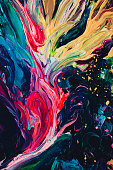 macro close up of different color oil paint. colorful acrylic. modern art concept