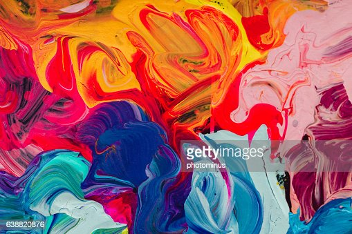 macro close up of different color oil paint. colorful acrylic : Stock Photo