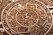 Archeological Aztec Sun Calendar. The Aztec calendar stone was made by inhabitants of modern day Mexico