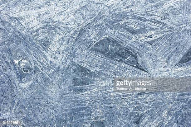Macro closeup of clear ice crystals