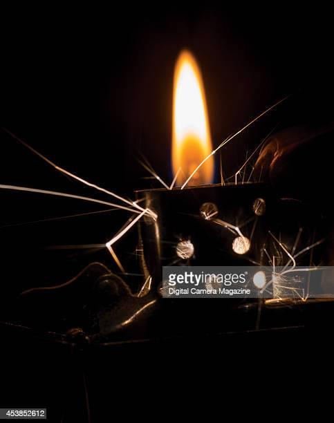 Macro detail of a Zippo lighter igniting taken on January 16 2014