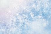 Macro image of snowflakes. Winter background.