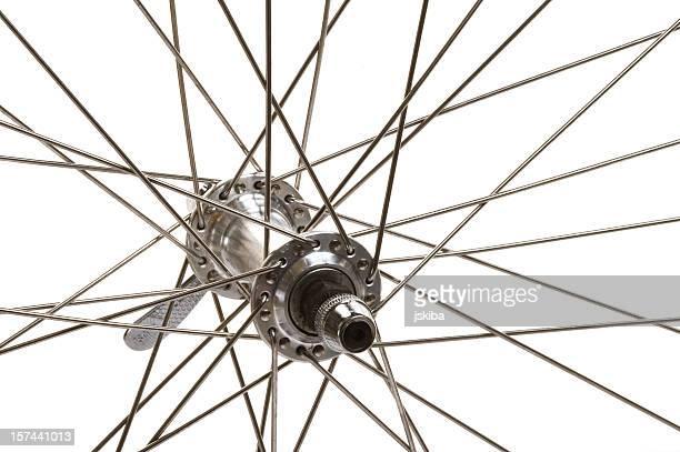 Macro of a mountain bike front wheel hub