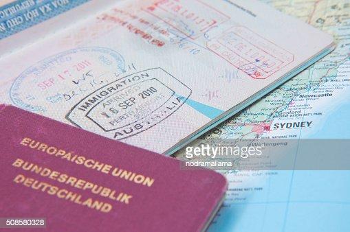 Macro of arrival stamp of Australia in passport : Stockfoto
