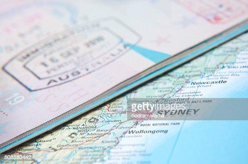 """Macro de l """" arrivée, timbre de l'Australie à passeport : Photo"""