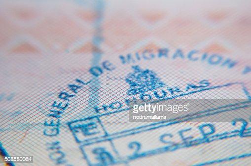 Makro der Ankunft in Pass Stempel von Honduras : Stock-Foto