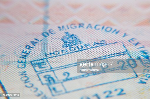 Macro of arrival stamp of Honduras in passport : Stock Photo