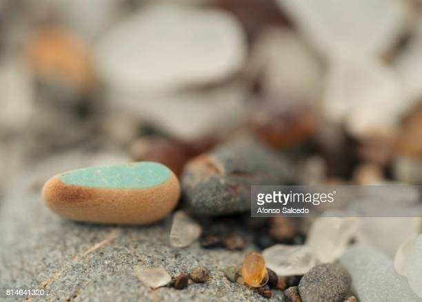 Macro of Glass Beach beads