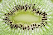 macro of sliced kiwi