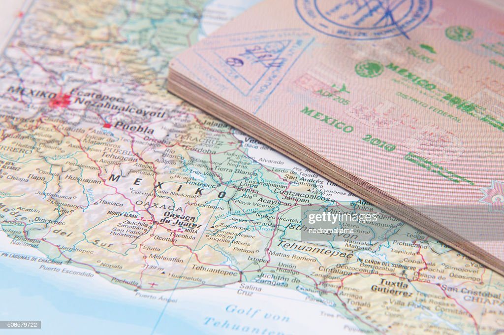 Macro of stamps in passport, Mexico, Central America. : Stock Photo