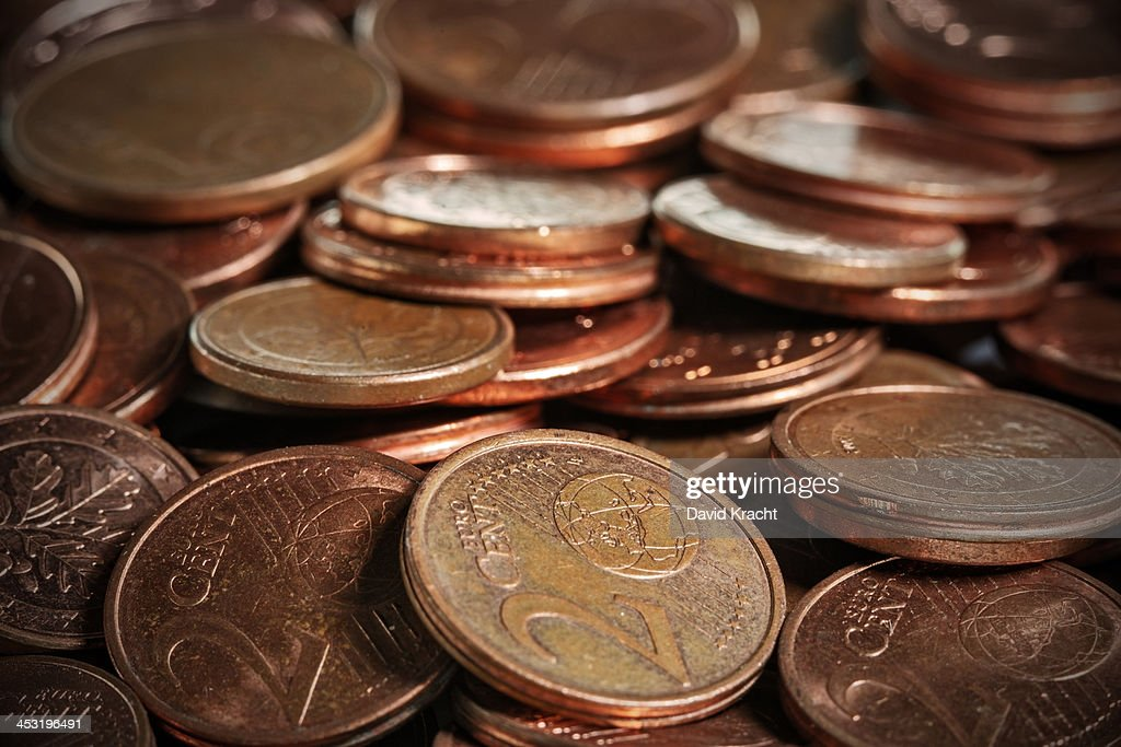 A macro photo of euro cent coins : Stock Photo