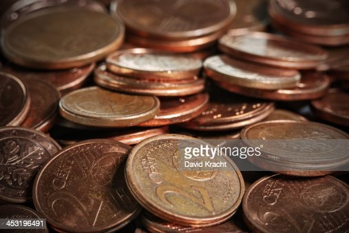 A macro photo of euro cent coins