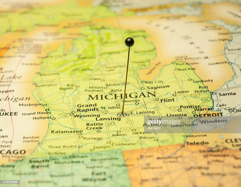 Macro Road Map Of Lansing Michigan And Detroit Stock Photo Getty - Road map of michigan