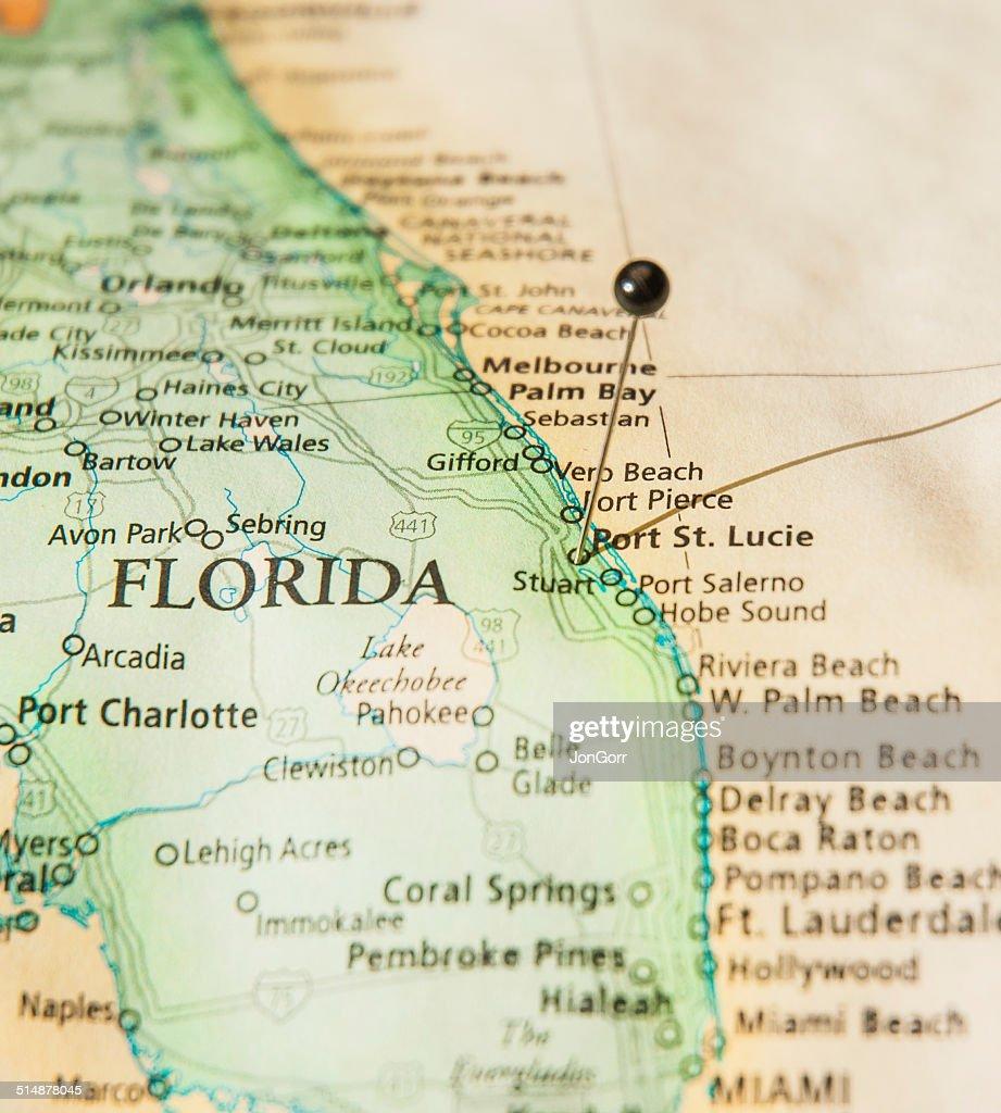 Macro Road Map Of South Florida Stock Photo Getty Images - Map of south florida