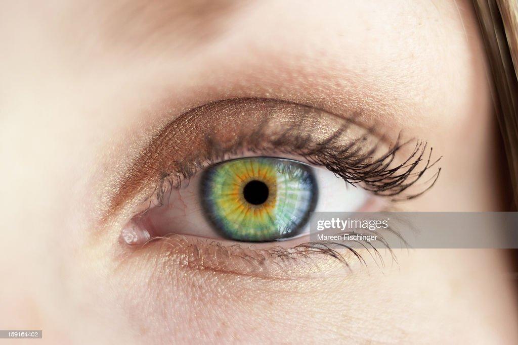 Macro shot of a felmale eye with green iris