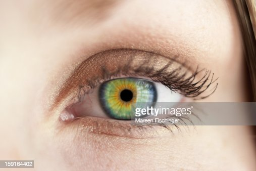 Macro shot of a felmale eye with green iris
